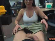 Amateur brunette babe with glasses nailed by pawn man