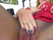 English and nyloned milf Lily May fucks a dildo