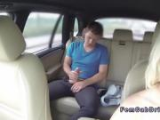 Euro guy masturbates in back seat in taxi