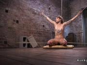 Hot bodied brunette slave in hogtie