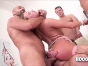 three men fucked and finished all the holes