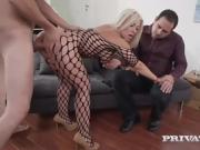 Blonde In Fishnet Bodystocking Pleasures Two Men At Once
