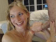 French Blonde college babe blowjob and facial