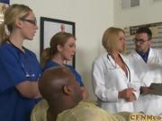 CFNM busty nurse interracially cum sprayed