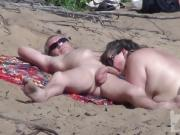 Hidden camera on a nudist beach.