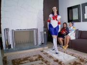 Cosplay teen friends dirty foursome fuck with stepbrother