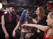 Lesbian slaves tribbing with vibrator