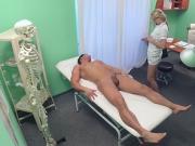 Muscular dude pounds blonde nurse