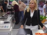 Gorgeosu Blonde Babe Sucks A Dick And Fucks In Pawn Shop