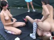 Horny rushes make out with the sisters in tennis field