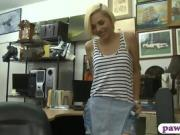 Lovely blonde babe gives head and fucked by pawn guy