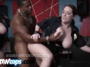 Slutty cops with big tits get banged by long black rod