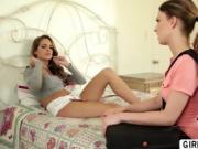 Horny Lesbian teen caught masturbating