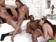 Step dad and cousin fuck feasting on ebony pussies