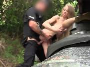 Blonde in sports wear fucks fake cop outdoors