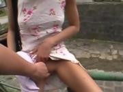 Slutty Blonde Down On Her Knees Sucking Dick In Public POV