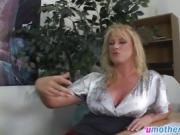 Busty blonde milf gets pounded by big rod on desk