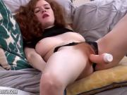 Hairy red head fucks herself with toy until she cums hard