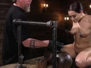 Brunette tits suctioned and tormented