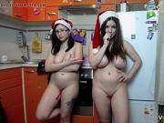 2 christmas lesbians have fun together