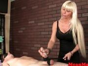 Mature masseuse tugging during hj massage