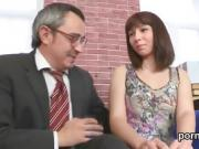 Nice bookworm is seduced and plowed by her older tutor