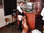 Horny perky tits babe Eve Ellwood pounded by bartender