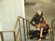 Domme disgraces slut in public street