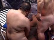 Busty ebony babe sucks and fucks 2 midget cocks