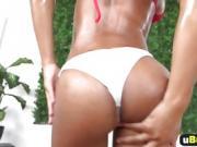 Black babe Nicole Bexley rides long white rod