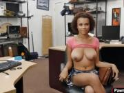 Sexy babe having sex with pawnshop owner