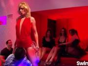 Nightclub hot swinger party among friends