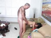 Gorgeous Latina babe fucked from behind by a hairy old man