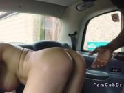 Masked black guy bangs huge boobs blonde in her cab