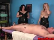 Masseuses cum controlling customer with handjob