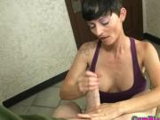 Fine MILF bukkake covered after pulling young cock pov