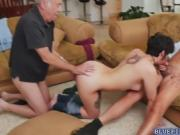 Brunette babe Sydney Sky fucks with 2 old guys