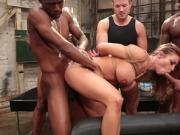 Blonde gets interracial double penetration