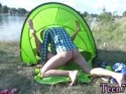Teen handjob hd cum on tits Eveline getting plowed on camping