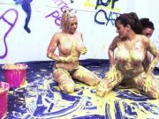 Busty Brits splash around in buckets of cream