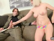 Housewife Raven Dawn Jerks Off Insurance Salesman for Facial
