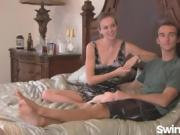 Beautiful amateur couple awesome doggy swinging