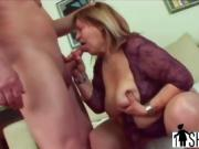 Chubby gilf loves getting some young cum on her tits
