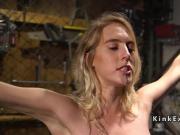 Blonde slave gets threesome slave training