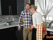 Evelin and Blake shared horny boyfriend in the kitchen
