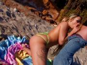 Naughty blonde teen have wild sex on the beach with older guy