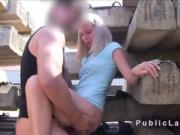 Dity blonde amateur anal bangs outdoors