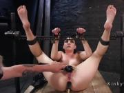 Brunette slave anal toyed and waxed