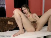 Mara Gri gets her hairy pussy dripping wet