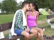 Detective blowjob Eveline getting torn up on camping site